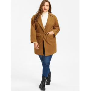 Wool Blend One Button Plus Size Coat - EARTHY 3XL