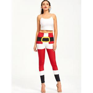 Color Lump Tight Christmas Leggings - RED M
