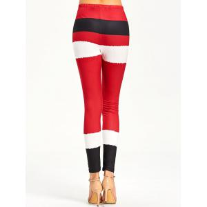 Color Lump Tight Christmas Leggings - RED XL