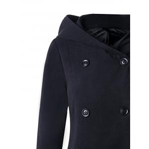 Asymmetric Double Breasted Hooded Coat - BLACK L