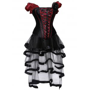 Checked Lace Up Gothic Corset Top with Sheer Skirt - RED WITH BLACK L
