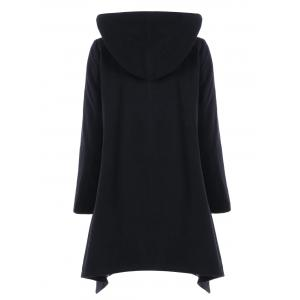 Asymmetric Double Breasted Hooded Coat - BLACK XL