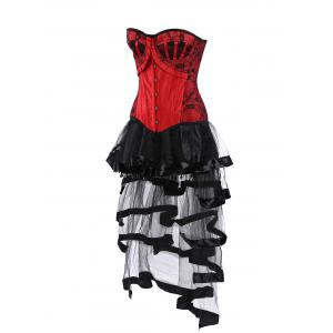 Lace Up Vintage Corset with Flounce Long Skirt -