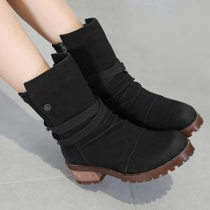 Criss Cross Chunky Heel Ankle Boots - BLACK 40/8