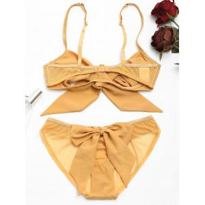 Cut Out Bow Tied Bra Set - GINGER L