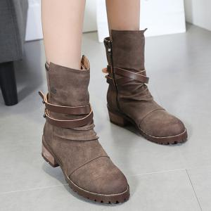 Criss Cross Chunky Heel Ankle Boots - BROWN 35/5.5