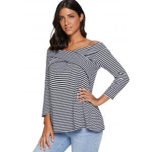 Striped Off The Shoulder Tee - STRIPE S