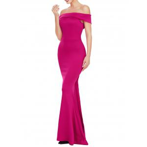 Off The Shoulder Back Slit Prom Dress - ROSE RED L