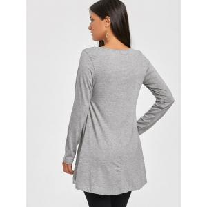 Scoop Neck Chiffon Trimmed Tunic Top - GRAY S