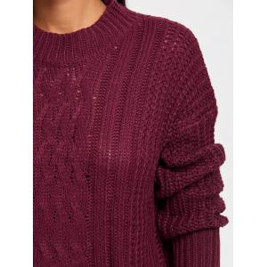 Mock Neck Cable Knit Sweater - CLARET ONE SIZE