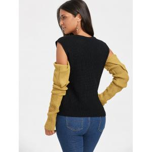 Crew Neck Color Block Cold Shoulder Sweater -