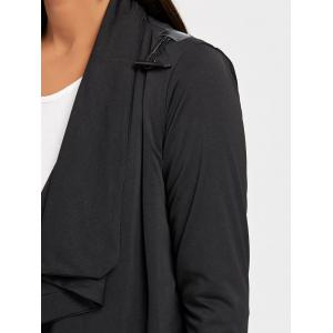 Long Sleeve Tunic Draped Cardigan - BLACK L