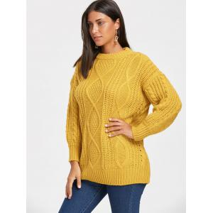 Open Front Puff Sleeve Long Cable Knit Sweater - GINGER ONE SIZE