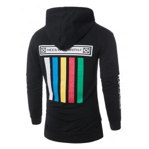 Panel Colorful Stripe Graphic Print Pullover Hoodie - BLACK M
