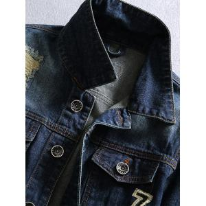 Chest Pocket Distressed Patched Denim Jacket - DEEP BLUE 3XL