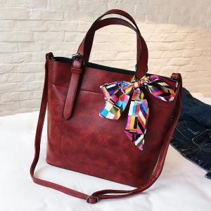 Scarf  PU Leather Bow Tote Bag - RED