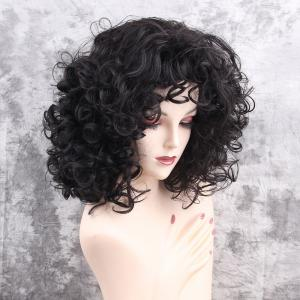 Medium Layered Fluffy Curly Synthetic Wig -