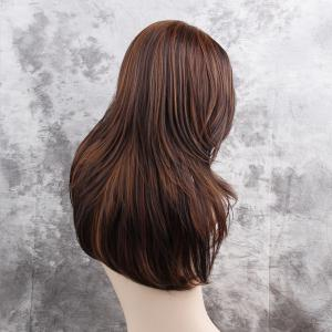 Long Side Bang Layered Highlighted Straight Synthetic Wig -