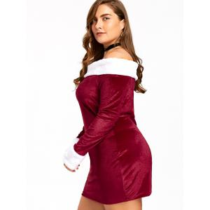 Christmas Plus Size Off The Shoulder Velvet Mini Dress - RED AND WHITE XL