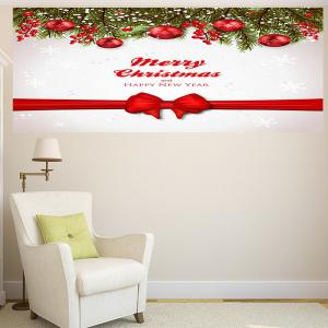 Christmas Balls Bowknot Belt Print Multifunction Wall Art Sticker - RED + WHITE 1PC:24*24 INCH( NO FRAME )
