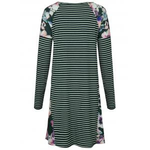 Raglan Sleeve Striped Floral Print Dress - GREEN M