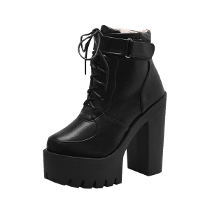 Lug Sole Platform Ankle Boots - BLACK 38