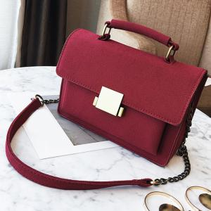 PU Leather Crossbody Bag With Handle - RED
