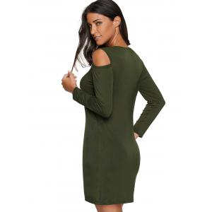 Cold Shoulder Mini Tunic Dress - ARMY GREEN XL