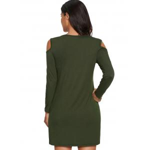 Cold Shoulder Mini Tunic Dress - ARMY GREEN 2XL