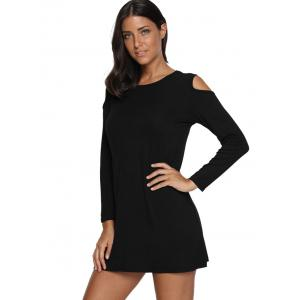Cold Shoulder Mini Tunic Dress - BLACK 2XL