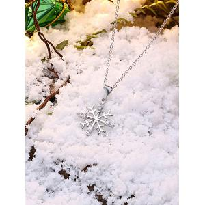 Christmas Snowflake Design Drop Necklace - SILVER