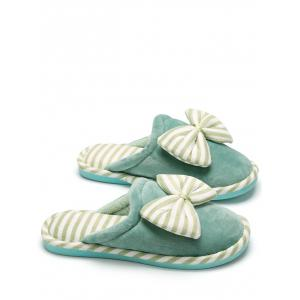 Bowknot Plush Stripe House Slippers - GREEN SIZE(38-39)