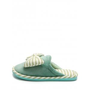 Bowknot Plush Stripe House Slippers -