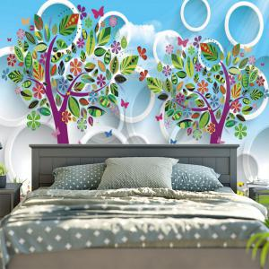 Cartoon Tree Circle Print Wall Art Tapestry - SKY BLUE W79 INCH * L59 INCH