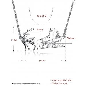 Christmas Reindeer Sleigh Ride Shape Drop Necklace -