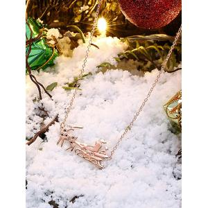 Christmas Reindeer Sleigh Ride Shape Drop Necklace - GOLDEN