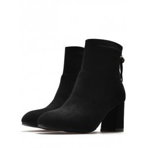 Pointed Toe Block Heel Ankle Boots - BLACK 36