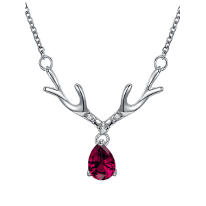 Elk Horn Waterdrop Faux Gem Pendant Necklace - SILVER