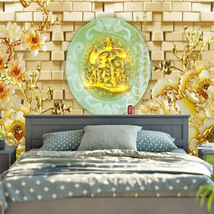 Flower Oval Jade Plate Print Wall Tapestry - COLORMIX W59 INCH * L51 INCH