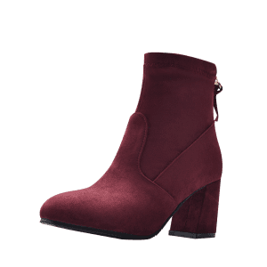 Pointed Toe Block Heel Ankle Boots - WINE RED 41