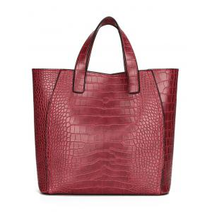 PU Leather Embossing 3 Pieces Handbag Set - RED