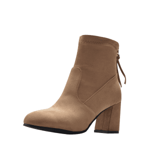Pointed Toe Block Heel Ankle Boots - APRICOT 41