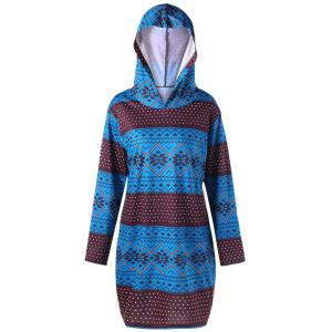 Plus Size Pullover Geometric Long Sleeve Hoodie - COLORMIX XL