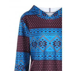 Plus Size Pullover Geometric Long Sleeve Hoodie - COLORMIX 3XL