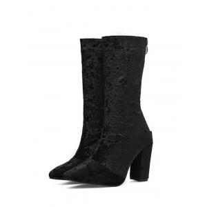 Pointed Toe High Heel Mid Calf Boots - BLACK 35