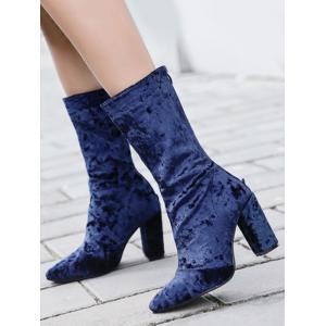 Pointed Toe High Heel Mid Calf Boots - BLUE 39