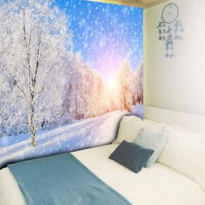 Wall Hanging Snowscape Pattern Tapestry - BLUE AND WHITE W79 INCH * L59 INCH
