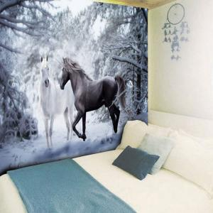 Two Horses Printed Wall Hanging Tapestry - COLORMIX W59 INCH * L51 INCH