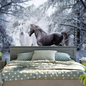 Two Horses Printed Wall Hanging Tapestry - COLORMIX W79 INCH * L59 INCH