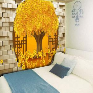 Copper Coin Money Tree Printed Wall Tapestry - GOLDEN W59 INCH * L51 INCH